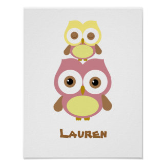 Cute nursery girl owl poster