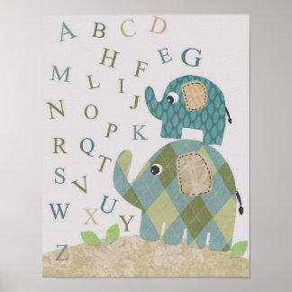 Cute Nursery wall art elephant alphabets