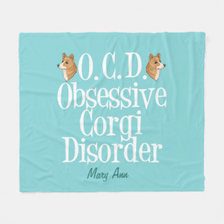 Cute Obsessive Corgi Disorder Fleece Blanket
