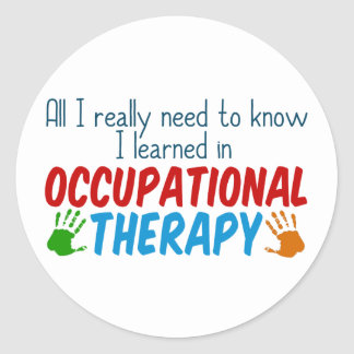 Cute Occupational Therapy Handprints Classic Round Sticker