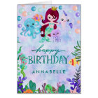 Cute Ocean Animals Mermaid Theme Happy Birthday Card