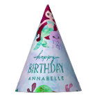 Cute Ocean Animals Mermaid Theme Happy Birthday Party Hat