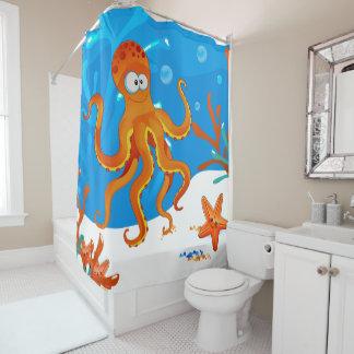 Cute Octopus Ocean Aquatic Shower Curtain 2