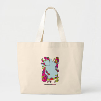 cute odd friend designer illustration large tote bag