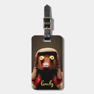 Cute, odd, funny face kachina photo custom name luggage tag