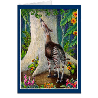 Cute Okapi in Rainforest greeting or note card