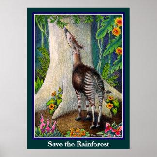 Cute Okapi Save the Rainforest Poster
