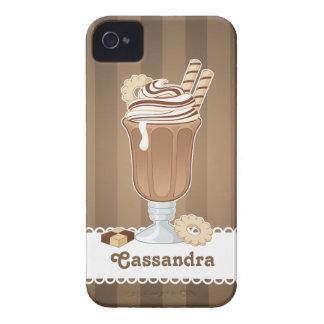 Cute old fashioned chocolate milkshake design iPhone 4 covers