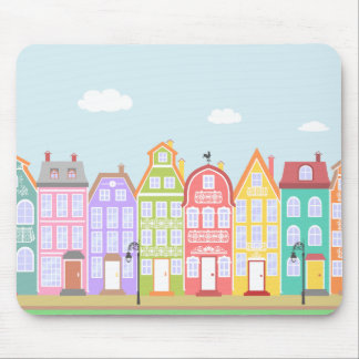 Cute Old Town Cartoon Houses Mousepad