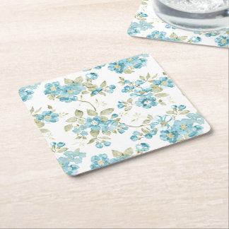 Cute Olive Green Aqua Turquoise Floral Watercolor Square Paper Coaster