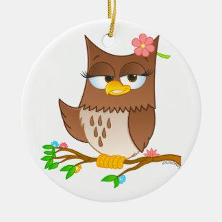 Cute Olivia VonHoot Christmas Tree Ornament