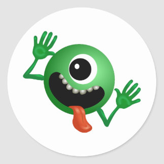 Cute One Eyed Monster Round Sticker
