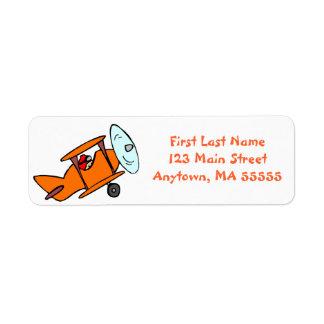 Cute Orange Airplane Address Labels