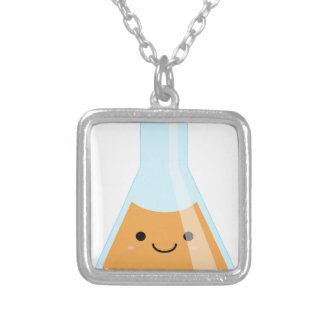 Cute orange alchemy kawaii flask silver plated necklace