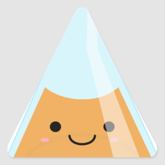 Cute orange alchemy kawaii flask triangle sticker