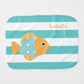 Cute Orange and Aqua Fish Baby Burp Cloths