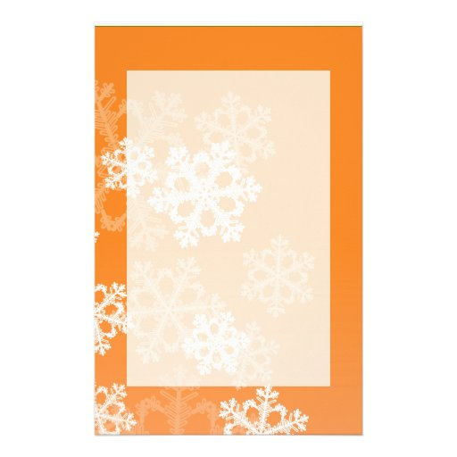 Cute orange and white Christmas snowflakes Custom Stationery