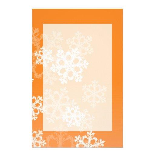 Cute orange and white Christmas snowflakes Custom Stationery
