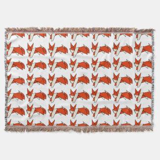 Cute Orange and White Origami Fox Throw Blanket