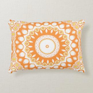 Cute Orange and Yellow Mandala Medallion Accent Pillow