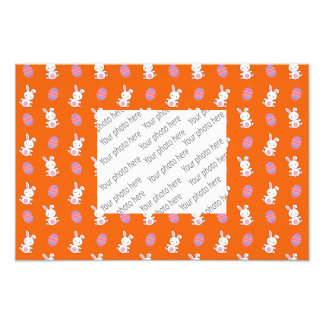 Cute orange baby bunny easter pattern art photo