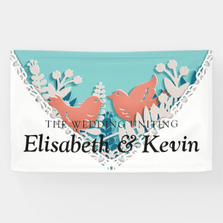 Cute orange birds origami cutout wedding banner