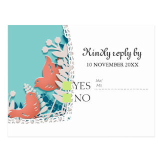 Cute orange birds origami cutout wedding postcard