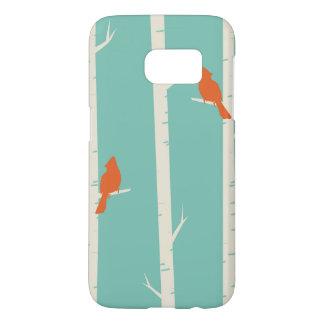 Cute Orange Birds Perched on Birch Trees Samsung Galaxy S7 Case