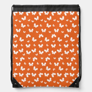 Cute orange Butterfly Pattern Drawstring Backpack