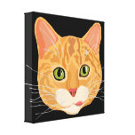 Cute Orange Cat Face Illustration Stretched Canvas Prints