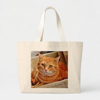 Cute Orange Cat Large Tote Bag