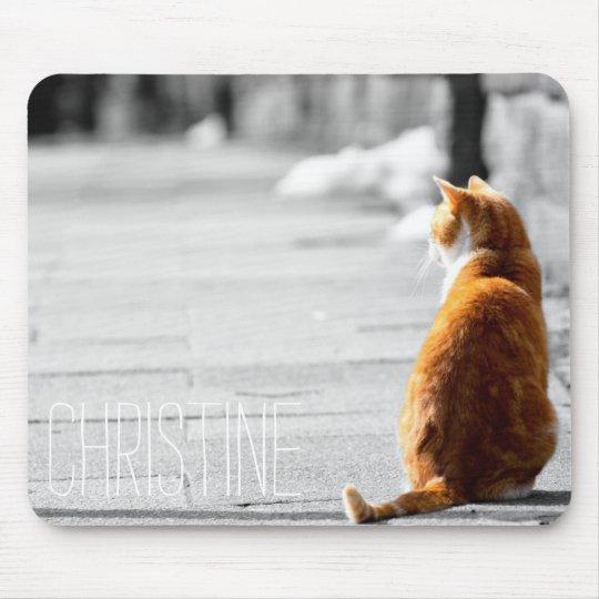 Cute orange cat photo custom name create your own mouse pad