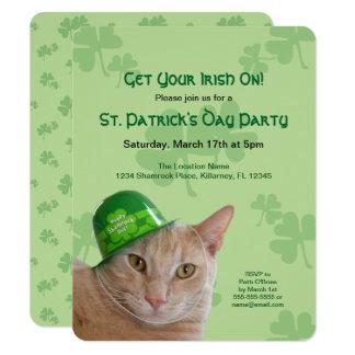 Cute Orange Cat Wearing a Green Irish Hat Party Card