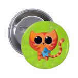 Cute Orange Cat with Star Button