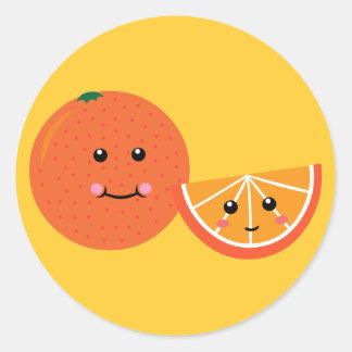 Cute Orange Classic Round Sticker