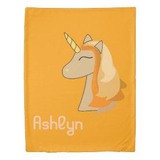 Cute orange color unicorn head duvet cover