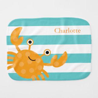 Cute Orange Crab Burp Cloth