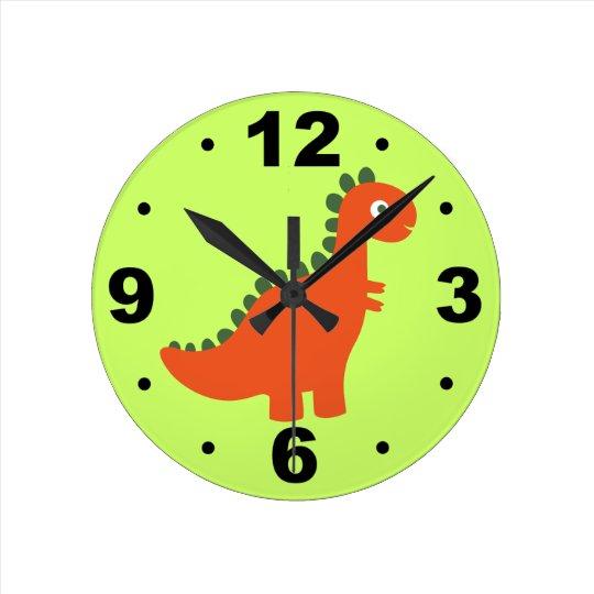 Cute Orange Dinosaur Kids Wall Clock