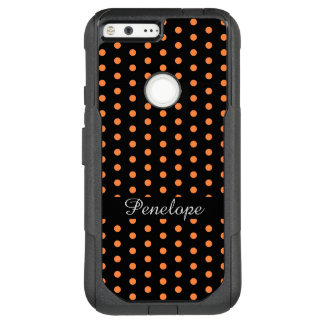 Cute Orange DotsPattern Add your name OtterBox Commuter Google Pixel XL Case