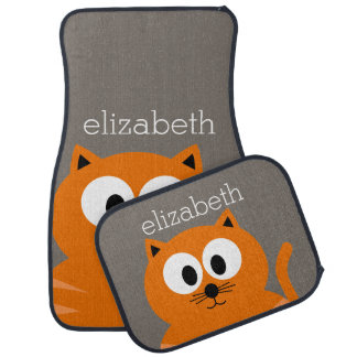 Cute Orange Fat Cat with Taupe Personalized Car Mat