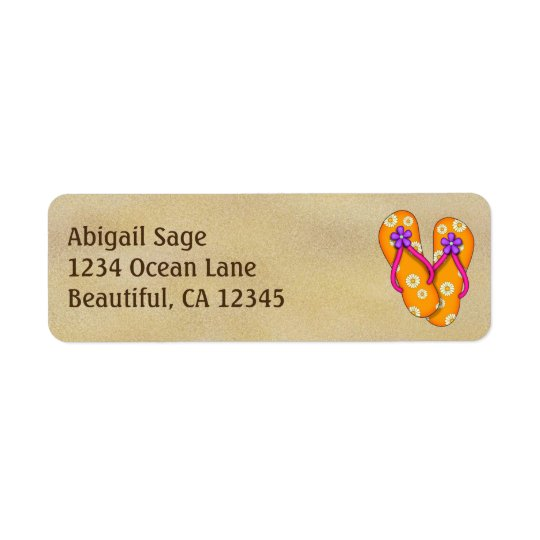 Cute Orange Flip Flops on Sand Beach Address Return Address Label