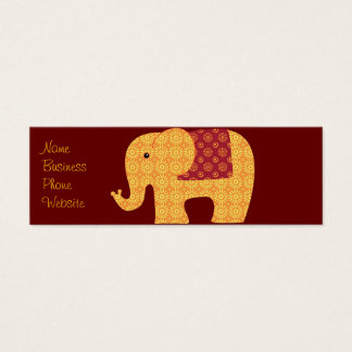 Cute Orange Flower Elephant on Red Mini Business Card