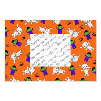 Cute orange Frankenstein mummy pumpkins Photo Art