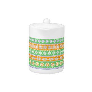 Cute orange green ethnic patterns design