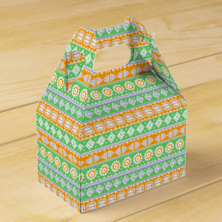 Cute orange green ethnic patterns design favor box
