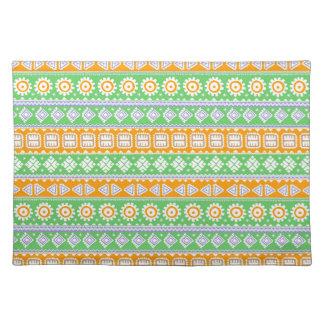 Cute orange green ethnic patterns design placemat