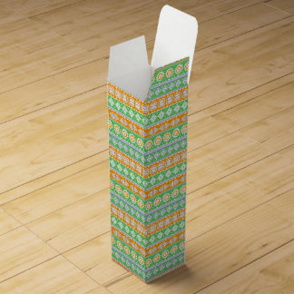 Cute orange green ethnic patterns design wine gift box