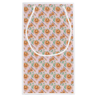 Cute Orange Halloween Pattern Small Gift Bag