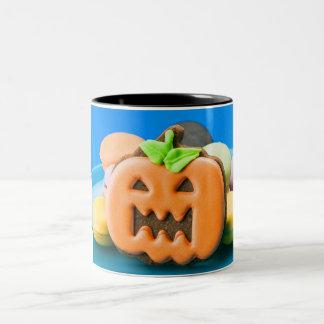 Cute orange Halloween pumpkin Two-Tone Coffee Mug