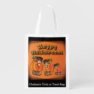 Cute Orange Halloween Pumpkins Guys Grocery Bags
